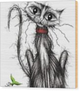 Greedy The Cat Wood Print