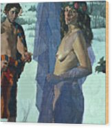 Greek Adam And Eve Wood Print