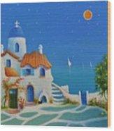 Greek Blue Santorini A Greek Fairytale Wood Print