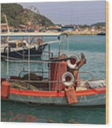 Greek Boat And Boots Wood Print