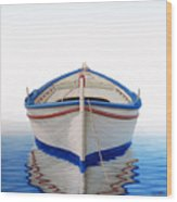 Greek Boat Wood Print by Horacio Cardozo