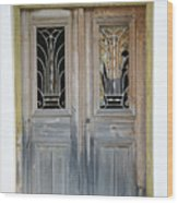 Greek Door With Wrought Iron Window Wood Print