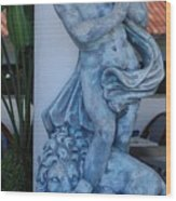 Greek Dude And Lion In Blue Wood Print