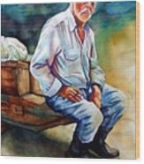 Greek Fisherman Wood Print