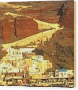 Greek Fishing Town Wood Print