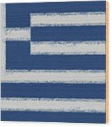 Greek Flag Smudged Wood Print