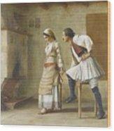 Greek Flirtation Wood Print