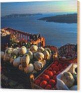 Greek Food At Santorini Wood Print by David Smith