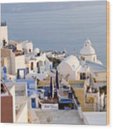 Greek Island Volcanic Town Wood Print