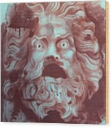 Greek Mask Wood Print