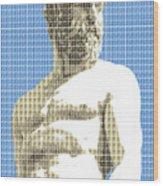 Greek Statue #2 - Blue Wood Print