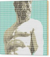Greek Statue #2 - Light Blue Wood Print