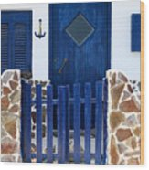 Greek Traditional House Wood Print