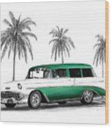 Green 56 Chevy Wagon Wood Print