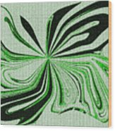 Green And Black Embroidered Butterfly Abstract Wood Print