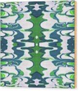 Green And Blue Swirl- Art By Linda Woods Wood Print
