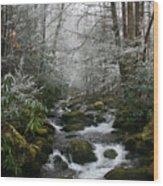 Green And White Wood Print
