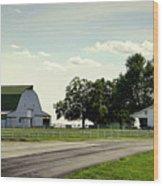Green And White Farm Wood Print