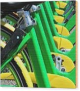 Green And Yellow Bicycles Wood Print