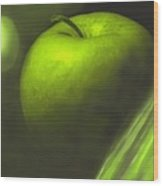 Green Apple Drama Wood Print