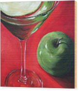 Green Apple Martini Wood Print