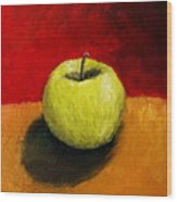 Green Apple With Red And Gold Wood Print by Michelle Calkins