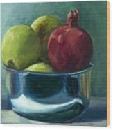 Green Apples And A Pomegranate Wood Print