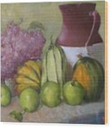 Green Apples And Hydrangeas   Copyrighted Wood Print