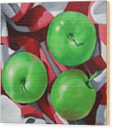 Green Apples still life painting Wood Print