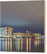 Green Bay Wisconsin City Skyline At Night Wood Print