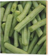 Green Beans Close-up Wood Print