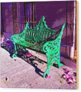 Green Bench By Michael Fitzpatrick Wood Print