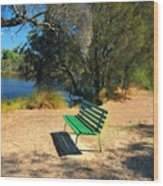 Green Bench Wood Print