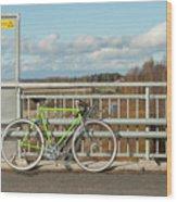 Green Bicycle On Bridge Wood Print