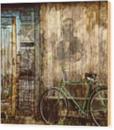 Green Bike Crooked Door Wood Print
