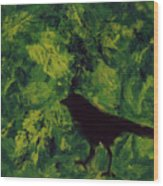 Green Bird Wood Print