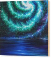 Green-blue Galaxy And Ocean. Planet Dzekhtsaghee Wood Print