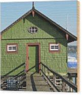 Green Boathouse Wood Print