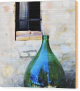 Green Bottle Italian Window Wood Print