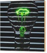 Green Bulb Wood Print