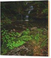 Green Cascade Wood Print