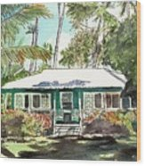 Green Cottage Wood Print
