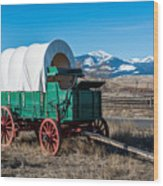 Green Covered Wagon Wood Print
