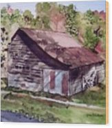 Green Creek Barn Wood Print