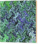 Green Crystal Digital Abstract Wood Print