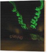 Green Curlicues Wood Print