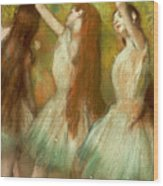 Green Dancers Wood Print