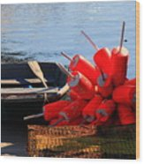 Green Dingy And Bouys Wood Print
