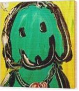 Green Dog Wood Print