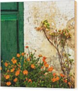 Green Door - Orange Flowers Wood Print